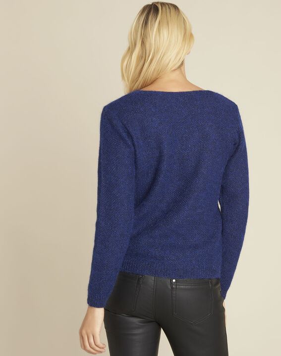Bisou blue mohair mix pullover with lace neckline (4) - 1-2-3