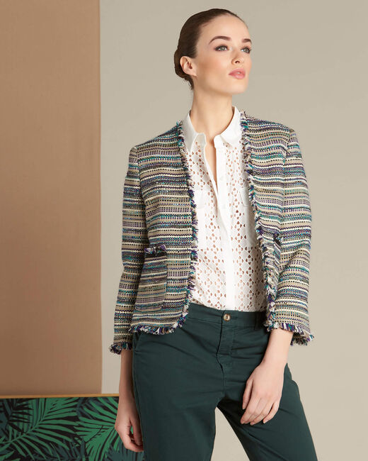 Veste en tweed et poches plaquées Citrouille (2) - 1-2-3