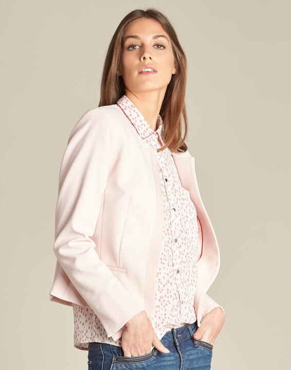 Charme pink cropped jacket in microfibre (3) - 1-2-3