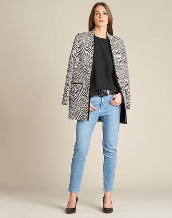 Mantel mit animal-print klarisse schwarz/weiss.