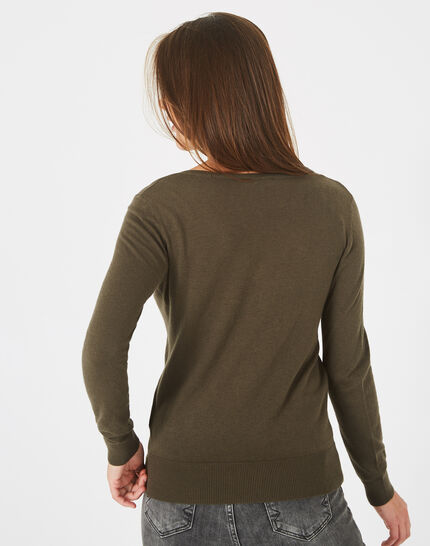 Planète khaki sweater with V-neck and diamante (4) - 1-2-3