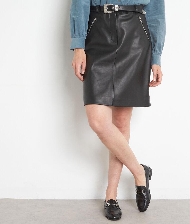 Mini jupe ceinturée en cuir noir Federica  PhotoZ | 1-2-3