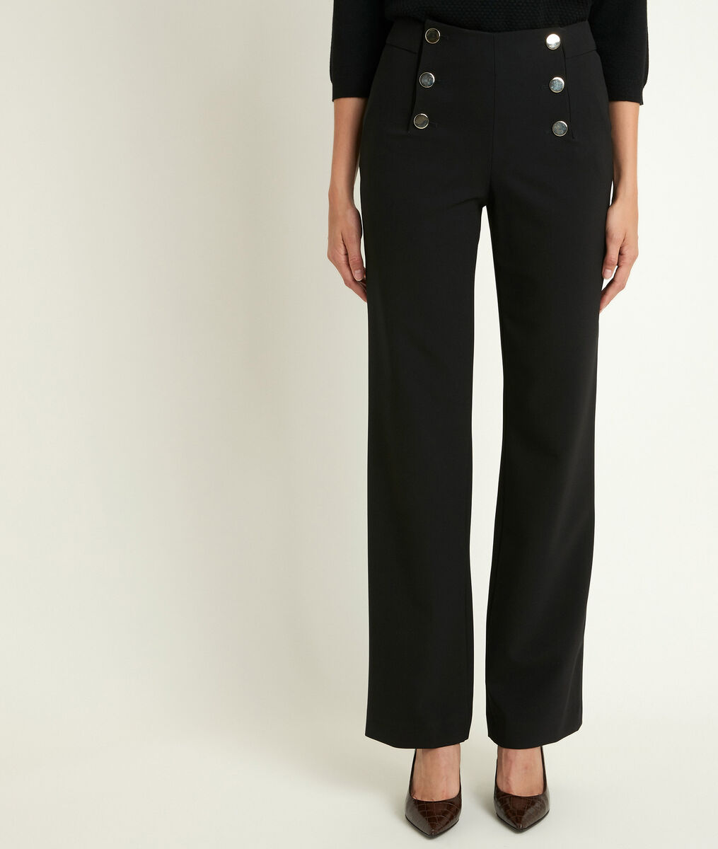 Pantalon à pont en microfibre noir Hubert PhotoZ | 1-2-3