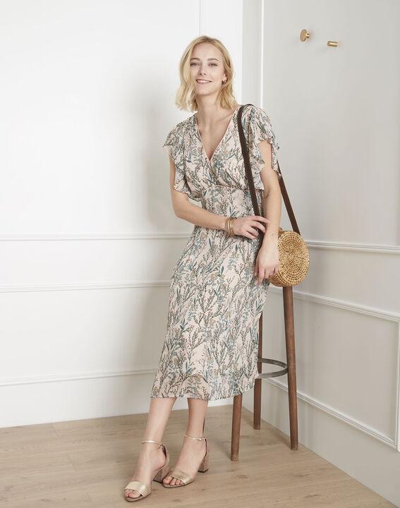 d66f8acfcc9134 Ecrufarbenes Kleid mit Blumen-Druckmuster Ludo - Maison Cent Vingt-Trois