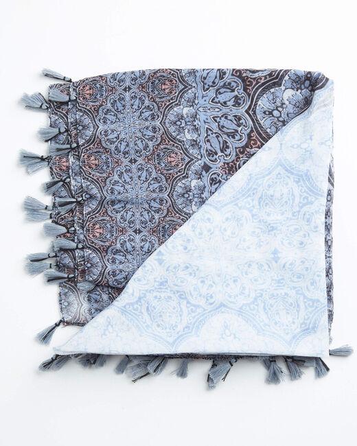 Blassblaues Halstuch mit Rosettenprint Ariette (2) - 1-2-3