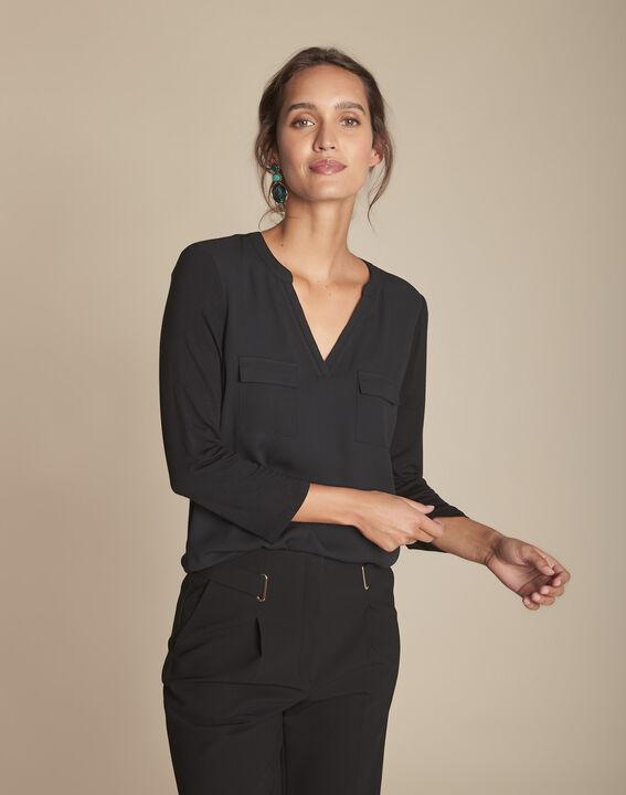 Zwarte blouse uit twee materialen Genna (2) - Maison 123