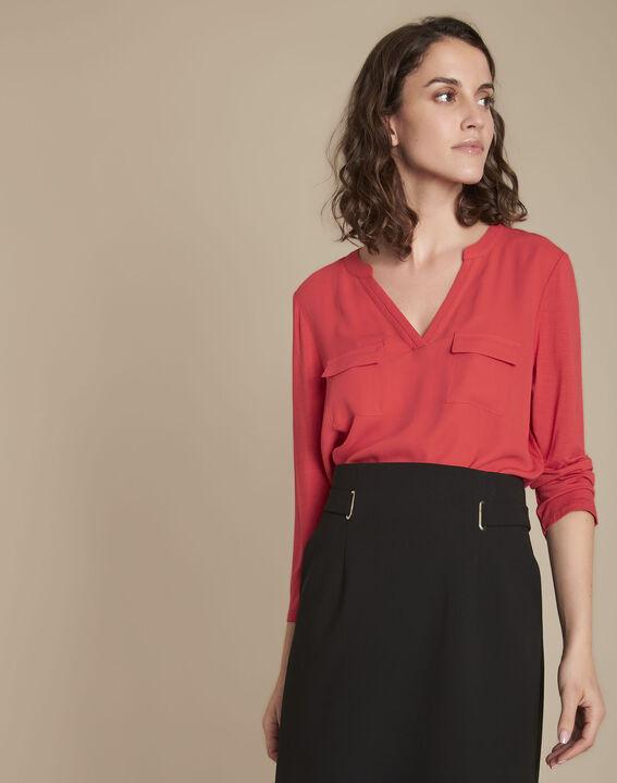 Rode blouse uit twee materialen Genna PhotoZ   1-2-3