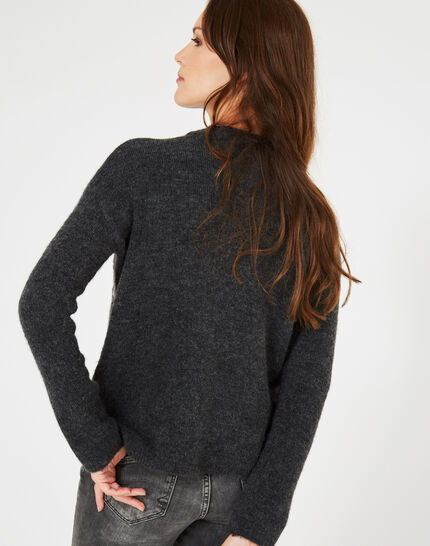 Grauer Pullover mit Stickerei Nastasia (3) - 1-2-3