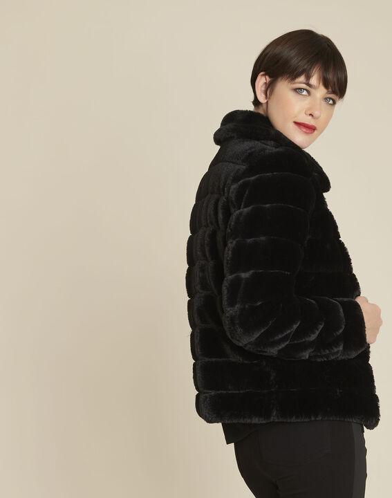 Veste noire fausse fourrure réversible Laura (4) - 1-2-3