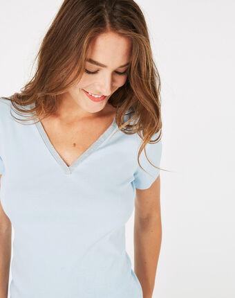 Tee-shirt bleu ciel col strassé neck bleu ciel.