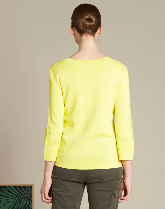 Nymphette yellow V-neck sweater with spotted detailing (4) - 1-2-3