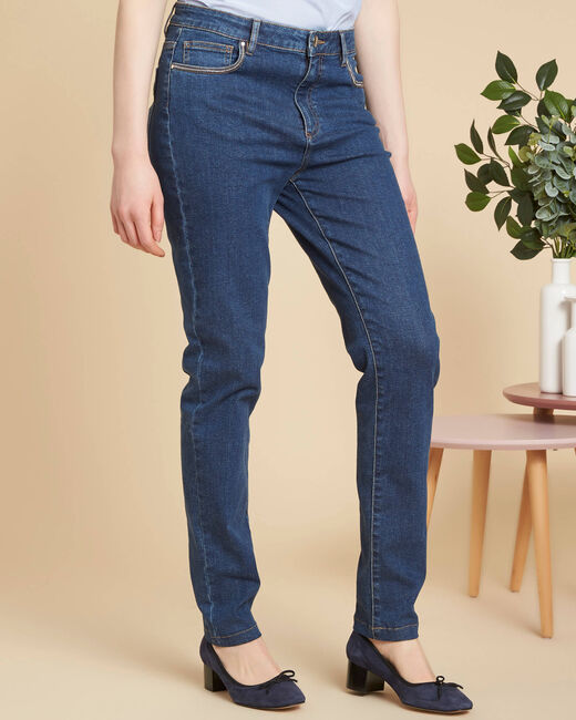 Donkerindigo slim fit jeans met hoge taille Venice (2) - 37653