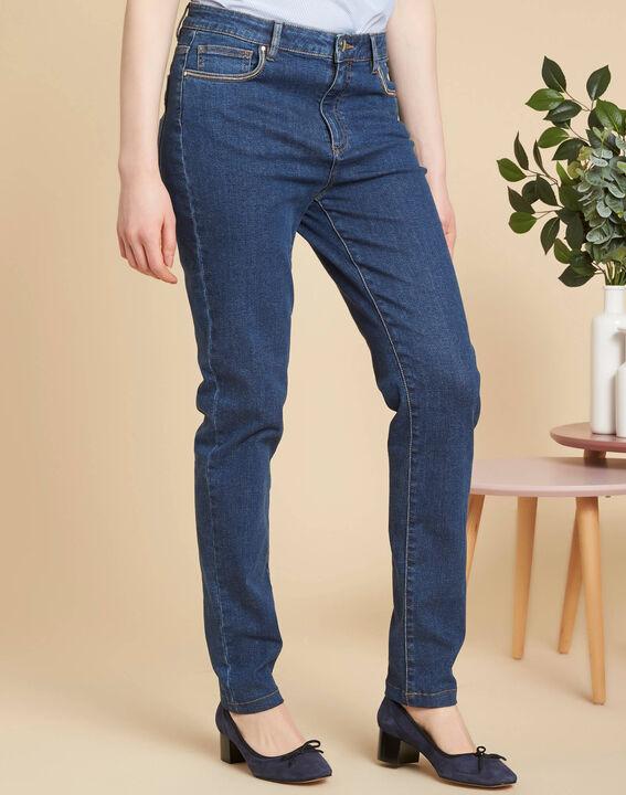 Dunkelblaue Slim-Fit-Jeans hohe Leibhöhe Venice (3) - 1-2-3