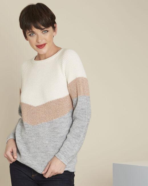 Ecrufarbener Pullover mit Streifen Barbade (2) - 1-2-3