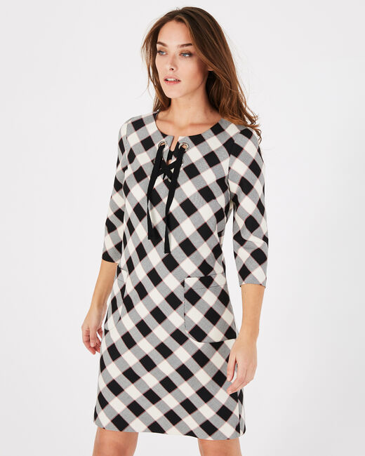 Angela straight black check dress (1) - 1-2-3