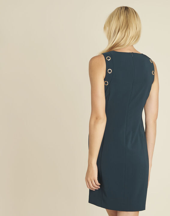 Gerade geschnittenes dunkelgrünes Kleid mit Ösendetails Dora (4) - 1-2-3