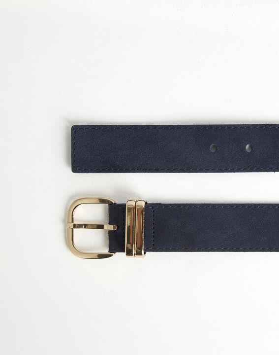 Rime velvet-effect wide navy leather belt PhotoZ   1-2-3