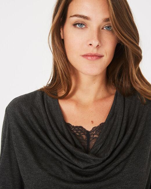 Tee-shirt gris chiné à col bénitier et dentelle Ballet (2) - 1-2-3