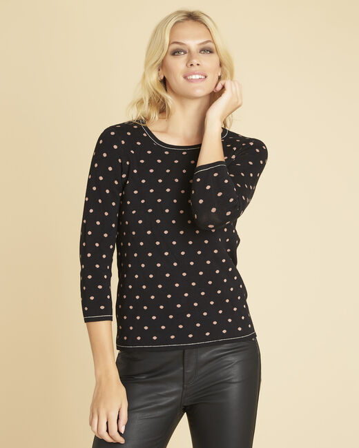 Brigitte black sweater with polka dots and gold threading (2) - 1-2-3