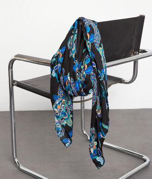Foulard fluide imprimé bleu et noir Pensee