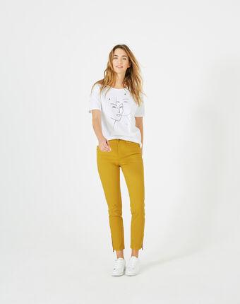 Pantalon 7/8ème jaune satin pia soleil.