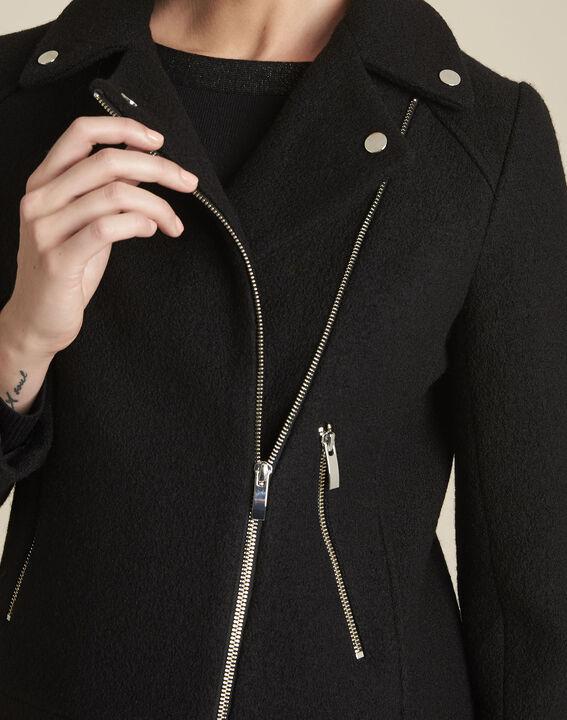 Manteau noir en laine esprit perfecto Edmee (3) - 1-2-3