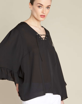 Dora black blouse with eyelets and lacing on the neckline black.