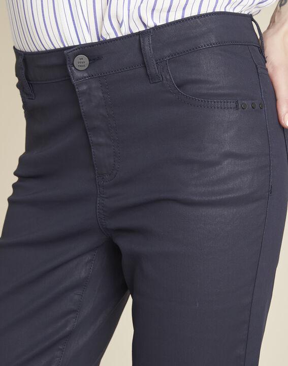 Vendôme 7/8 length navy coated jeans (3) - 1-2-3