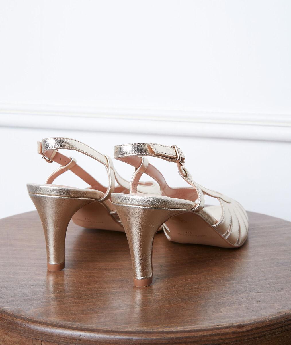 Sandales en cuir à talon dorées Gloria PhotoZ   1-2-3