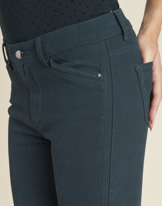 Opéra 7/8 length emerald green slim-cut jeans with zip detailing (3) - 1-2-3
