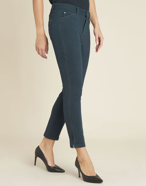 Opéra 7/8 length emerald green slim-cut jeans with zip detailing PhotoZ | 1-2-3