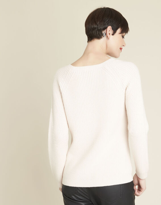 Bountie nude wool mix pullover with lacing detail (3) - 1-2-3