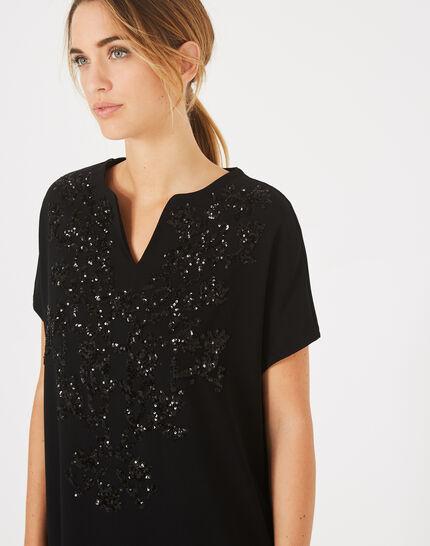 Schwarzes Tunikakleid mit aufgestickten Perlen Anna (2) - 1-2-3