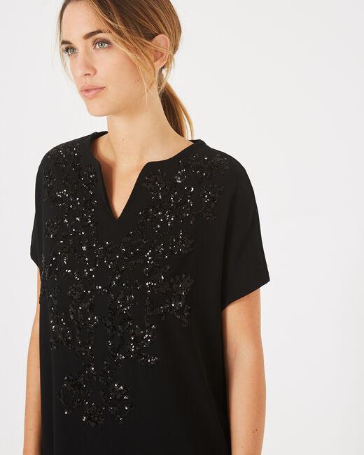 Schwarzes Tunikakleid mit aufgestickten Perlen Anna (1) - 1-2-3