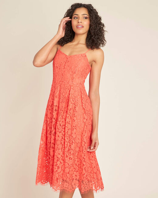 Ibiscus coral mid-length dress in lace (2) - 1-2-3