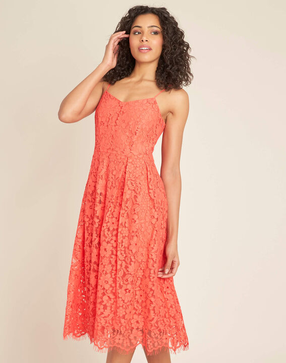 Ibiscus coral mid-length dress in lace (3) - 1-2-3
