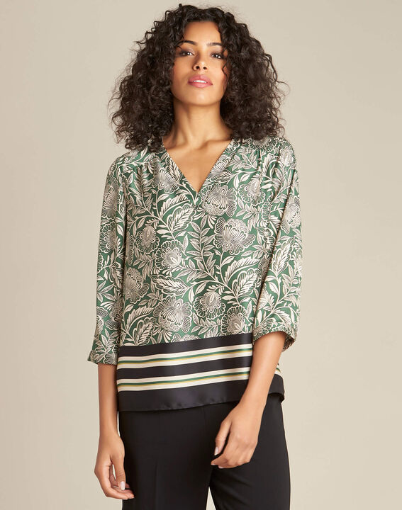 Gail green blouse with plant print (3) - 1-2-3