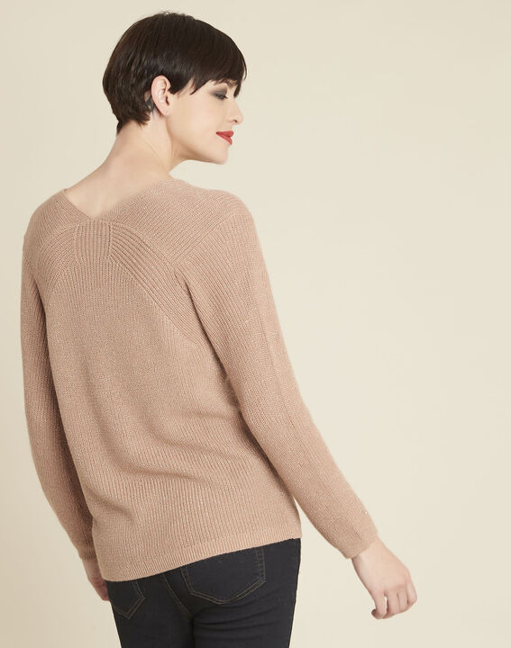 Bonita pink fine-knit sweater with V-neck (4) - Maison 123