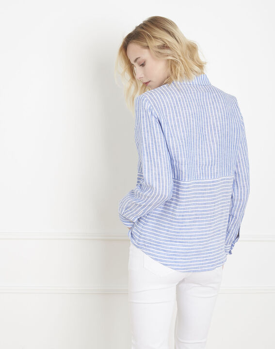 Chemise bleu azur rayée en lin Venetia (4) - Maison 123
