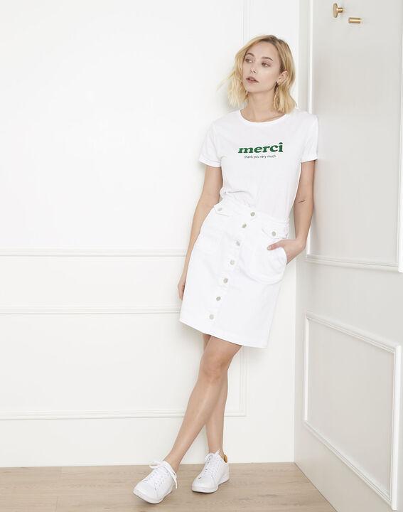 Jupe blanche en jean boutonnée Ambre (1) - Maison 123