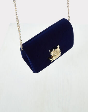 Pochette bleue en velours ritchie bleu.
