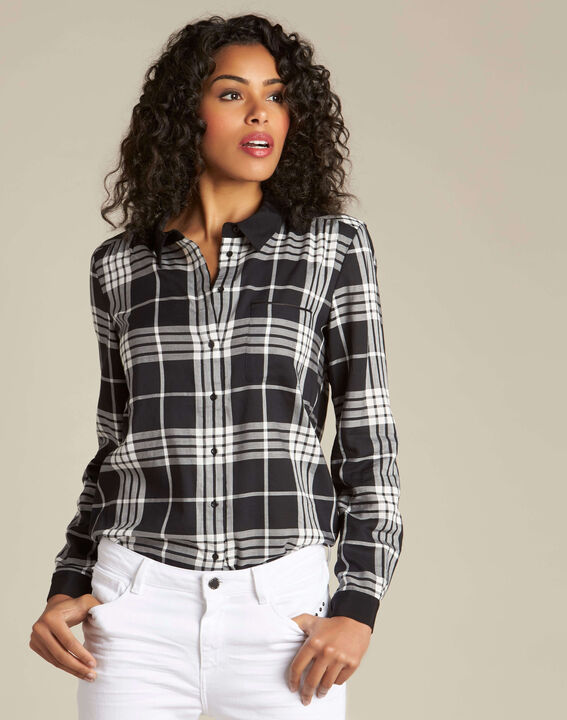 Dominique black and white check shirt (3) - 1-2-3