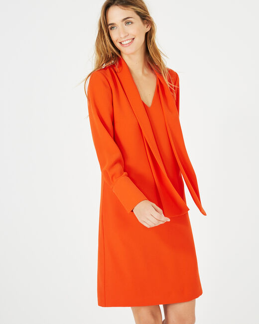 Andy orange dress with pussy bow collar (2) - 1-2-3