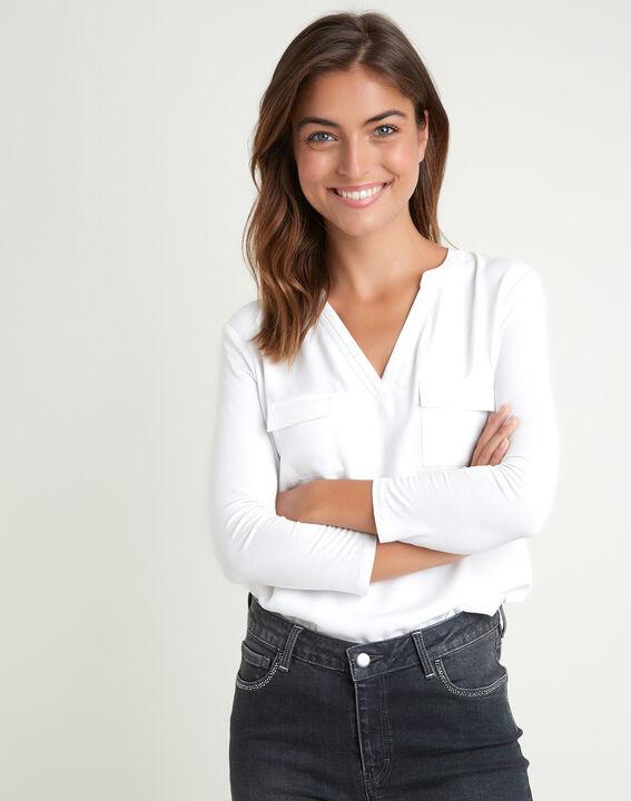 Ecrufarbenes T-Shirt im Materialmix mit Tunika-Kragen Genna PhotoZ | 1-2-3