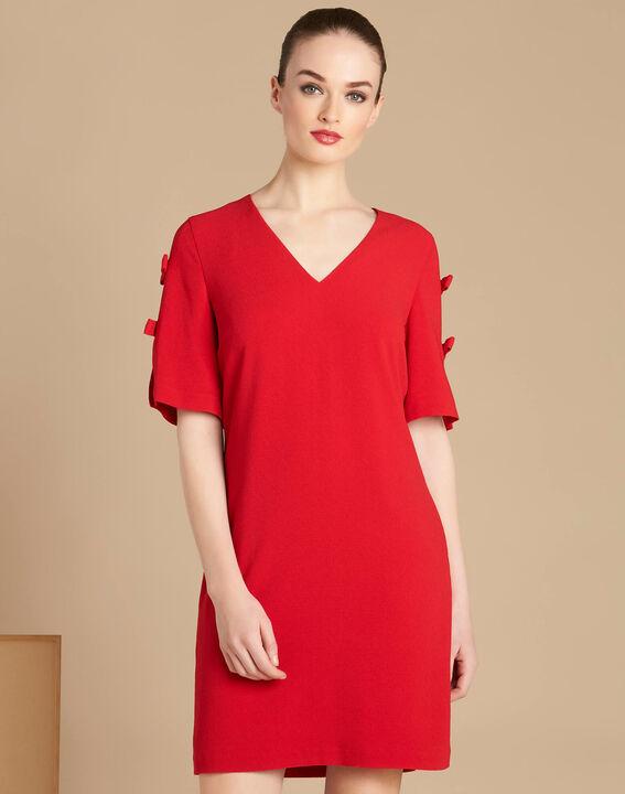 Rotes Krepp-Kleid mit Schleifen Ivoire PhotoZ | 1-2-3