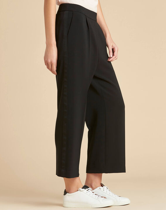 Vada black tailored 7/8 length wide-cut trousers (3) - 1-2-3