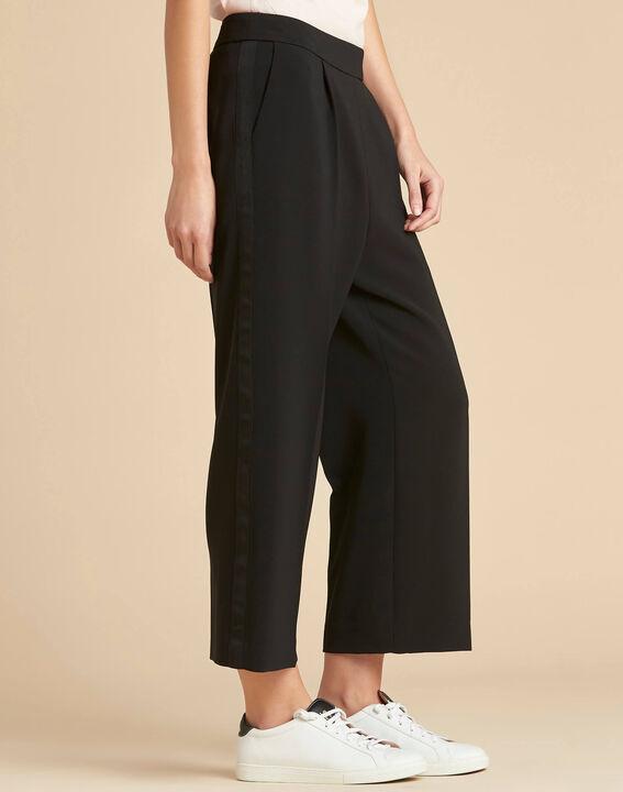 Pantalon noir large 7/8ème microfibre Vada (3) - 1-2-3