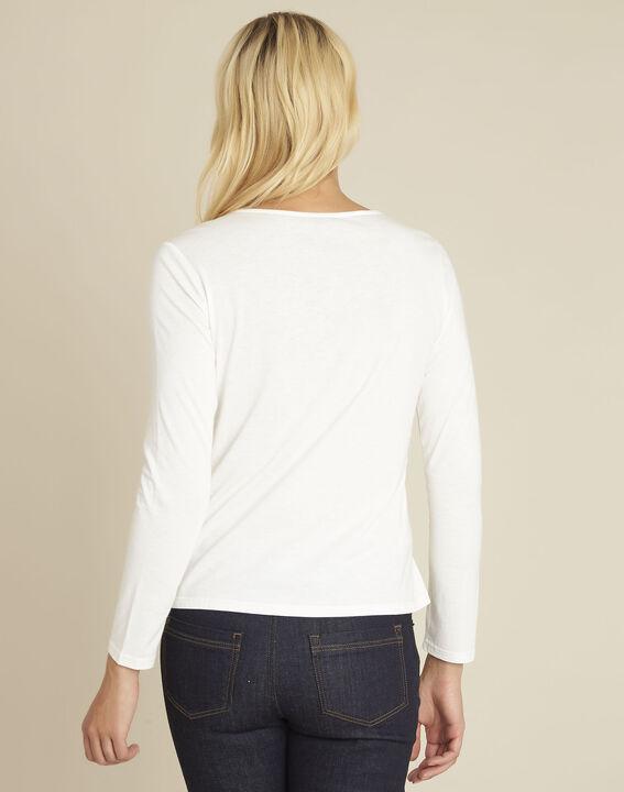 Gulpure ecru t-shirt with decorated neckline (4) - Maison 123