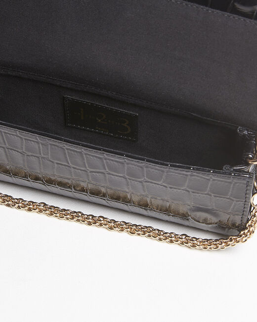Isabelle crocodile effect black leather clutch bag (1) - 1-2-3