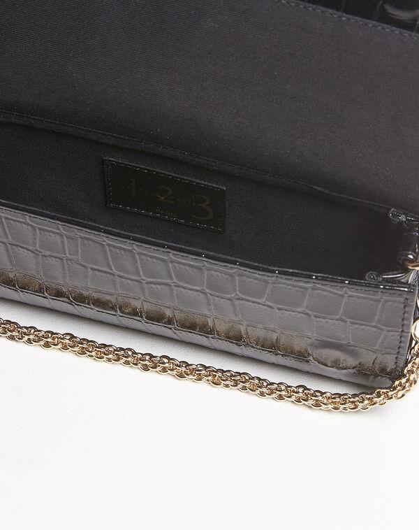 Isabelle crocodile effect black leather clutch bag (1) - 1-2-3